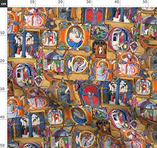 Mittelalter, Renaissance, Beleuchtung, Zeichnung, Buch, Pergament, Design Stoffe - Individuell Bedruckt von Spoonflower - Design von Bonnie Phantasm Gedruckt auf Bio Musselin -