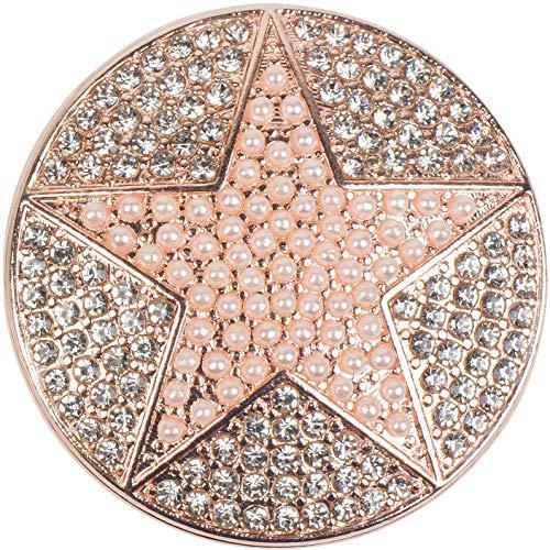 styleBREAKER Damen Magnet Schmuck Anhänger rund mit Perlen Stern und Strass, für Schals, Tücher oder Ponchos, Brosche 05050069, Farbe:Rosegold