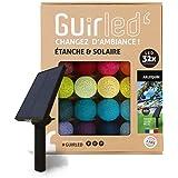 Guirlande d'extérieur boules lumineuses Guinguette LED - Étanche IP65 - Panneau solaire haut rendement - ON/OFF automatique -