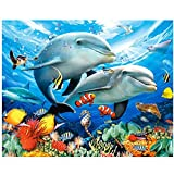 wuayi 5d-Gemälde, Motiv Delfine, Kreuzstich-Bild mit Strasssteinen, Diamantgemälde mit I