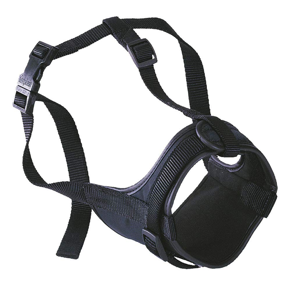 Ferplast Bozal para bóxeres Safe Boxer para Perros de hocico Corto, Parte Anterior Abierta, Suave Acolchado, Ajuste Mediante Velcro, A: de 50 a 80 cm – B: de 20 a 30 cm – C: 10 cm Negro