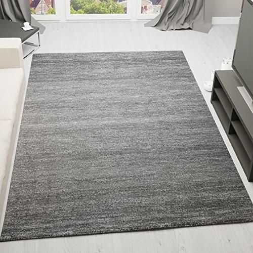 Moderner Wohnzimmer Teppich Meliert Kurzflor, OEKO TEX Zertifiziert, Farbechtheit, Pflegeleicht in GRAU, VIMODA; Maße: 120x170 cm