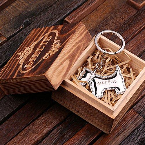 personalisierbar Edelstahl poliert Schlüsselanhänger Schnauzer Hund durch charakteristische Ware, With Wood Box