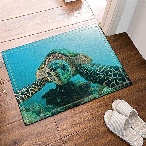 FEIYANG Die Schildkröte in Blue Ocean Sea World Badteppich 50x80cm Flanell Rutschfeste Fußmatte Fußmatte Badteppich mit Mustern 50x80cm