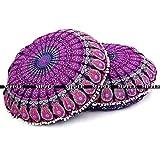 Future Handmade Kissenbezug, rund, indisches Mandala, 81,3cm, 100 % Baumwolle, multi, Design 4