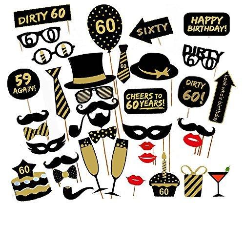 Veewon 60. Geburtstagsfeier Photo Booth Props Unisex Lustige 36 stücke DIY Kit Geeignet für seine oder ihre 60. Geburtstagsfeier Fotobooth Stütze