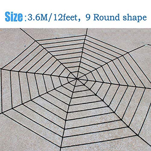Bolange Halloween Horror dekorative Spinnennetz Dekoration, 9 Kreise 3,6 Meter Stricken Riesen Gaze Halloween Requisiten Cosplay (schwarz)