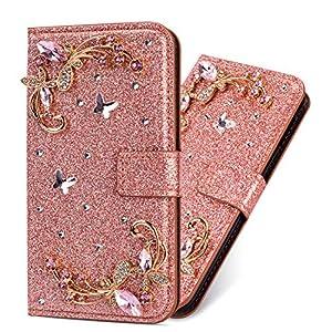 Bling Glitter Bookstyle für Huawei P Smart 2019 /Honor 10 Lite,Stand Funktion Ledertasche Musterg Diamond Sparkle Slim Glitzer Karteneinschub Magnetverschluss Flip Wallet Hülle Schutzhülle