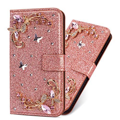 Modisch Glitzer Ledertasche für Samsung A70,Bling Glitter Diamond Love Hearts Musterg Slim Retro Bookstyle Stand Funktion Karteneinschub Magnetverschluss Flip Wallet Hülle Schutzhülle