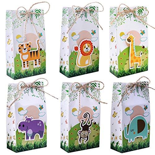 Upgrade Safari Tiere Taschen, Papier Geschenkbox Kinder Partydekorationen Perfekt mit Dschungel Baby Shower Birthday Party Supplies ()