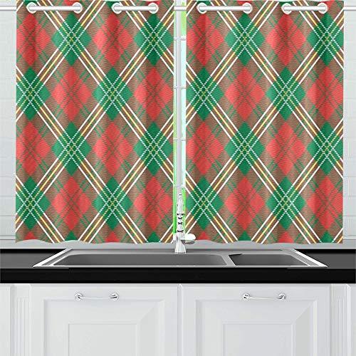 JINCAII Red Plaid Küche Vorhänge Fenster Vorhang Ebenen für Café, Bad, Wäscheservice, Wohnzimmer Schlafzimmer 26 x 39 Zoll 2 Stück - Küche Plaid Vorhänge