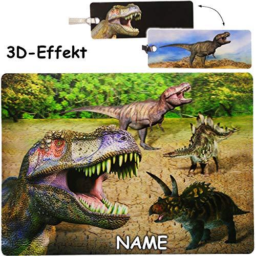 alles-meine.de GmbH 3D Effekt _ Unterlage + Lesezeichen - Dinosaurier - Tyrannosaurus Rex - inkl. Name - 40 cm * 30 cm - BPA frei - als Tischunterlage / Platzdeckchen / Malunterl..