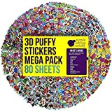 80 Different Sheets Puffy Childrens Stickers Mega Variety Pack by Purple Ladybug Novelty, 2000+ 3D Puffy Stickers for Kids, Toddlers, and Children, Including Animals, Smiley Faces, Cars, Letters, Stars and Tons More!