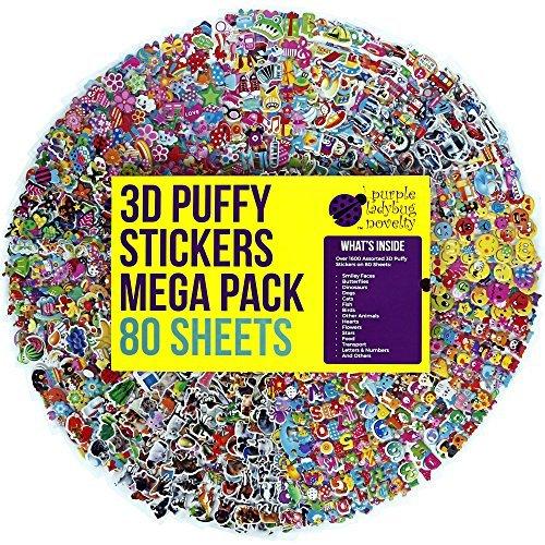 80 verschiedene Sticker Bogen für Kinder & Babies Stickeralbum im Kinderzimmer & an der Wand von Purple Ladybug Novelty, mehr als 1900 3D Sticker: Tiere, Smileys, Autos, Buchstaben, Sterne und mehr)