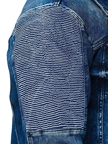 Red Bridge Herren Jeansjacke Biker Style Jeans Jacket Blue Denim Jacke Blau M6058 M - 5