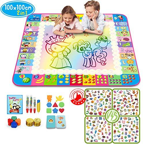 Sunyjoy 2 in 1 Wasser Magic Matte, 100 x 100 cm Große Regenbogen Matte, Puzzle-Spiel Wasser Zeichnung Matte mit 146 Accessoires, Buntes Lernspielzeug - Geschenk für Kleinkinder -