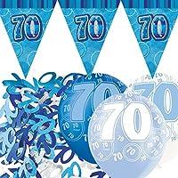 Unique BPWFA-4070 Glitz 70th Birthday Flag Banner Party Decoration Kit, Blue