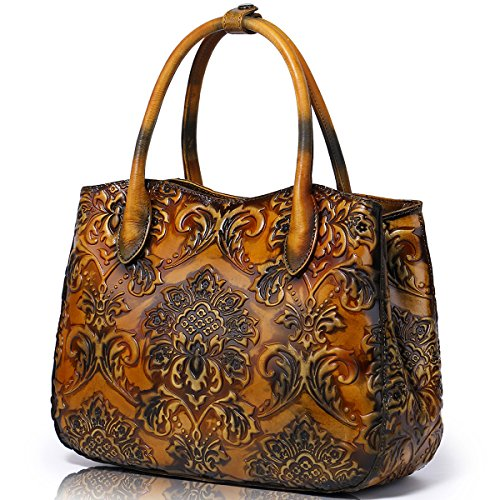 APHISON Damen Prägedruck Lederhandtasche Handtaschen Leder Schultertaschen Tote Shopper Taschen Umhängetasche Schulterbeutel