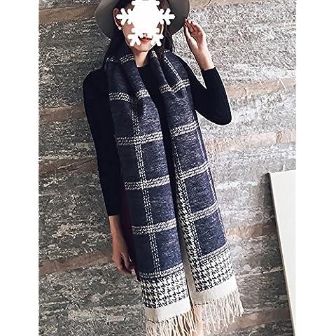 Otoño de estilo europeo y del invierno de las señoras de la bufanda del mantón del espesamiento de doble uso imitación de la cachemira de la tela escocesa de cuello largo caliente (Tamaño: Longitud 210cm *