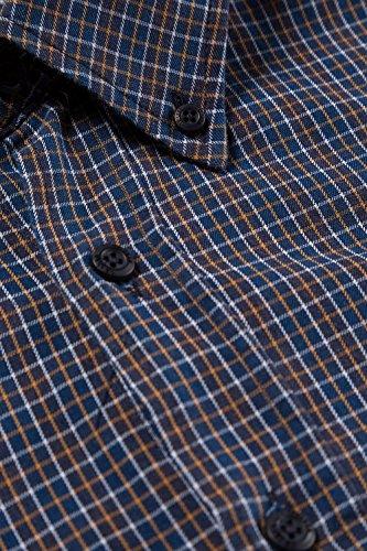 JP1880 Herren große Größen | Karohemd | Buttondown-Kragen, Langarm, Comfort Fit | bis Größe 7XL | 706514 Navy