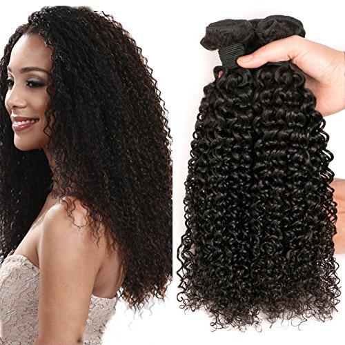 Daimer Tissage Bouclé Cheveux Brésiliens Courbés curly hair products 3 Tissage curly paquets Cheveux Humains Extension 100% Vierges, Couleur Naturelle 14 16 18