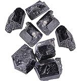 Piedras de turmalina negras en bruto en bruto, piedra de curación mineral de turmalina de cristal de cuarzo negro natural par