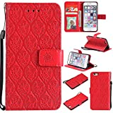 Cozy Hut iPhone 6 Hülle,iPhone 6S Hülle,iPhone 6 6S Case,iPhone 6 6S Leder Wallet Tasche Brieftasche Schutzhülle, Geprägte Stammesblumen Muster PU Leder Flip Wallet Cover in Book Style Sta
