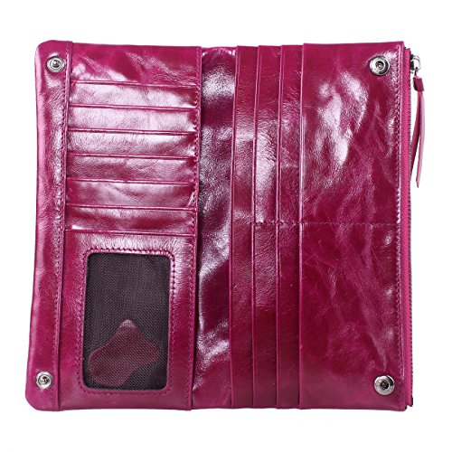 Yvonnelee Donne Della Signora Frizione Lungo Della Borse Borsa cuoio genuino Della Carta Portafoglio Leather Titolare Portamonete Porpora