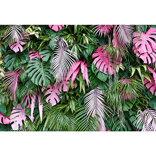 Cassisy 3x2m Vinyl Frühling Foto Hintergrund Garten Layout Tropische Bäume Arrangierte Blätter Wand Fotografie Hintergrund für Photo Booth Party Fotostudio Requisiten -