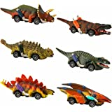 UTTORA Dinosaur Car Toys Pull Back Car Pull Back Dinosaur Cars Toys Set Toddlers kids toys age 2 3 4 5 6 Animal Vehicles dino