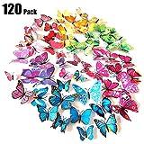Tomkity 120 Pezzi Farfalle Brillanti Adesivi per Pareti Vari Colori Decorazione Casa Stickers Murali, 10 Colori