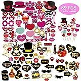 Sunarrive Fotobooth Requisiten | Foto Booth Accessoires | Fotorequisiten zum Valentinstag Hochzeit | Foto Verkleidung Party Set, 89 Stücke