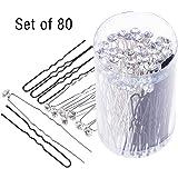 SourceTon - Confezione da 80 forcine per capelli a forma di U, con cristalli bianchi, con borraccia, 40 forcine di cristallo