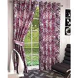 LE HAVRE Cubics Latest Design Curtain Set of 2, Long Window- 4ft x 6ft, Pink