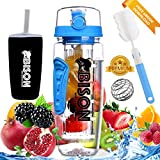 Bison International Fruit Infuser Water Bottle with BPA-free Tritan Infuser Anti-Sweat Thermos Sleeve