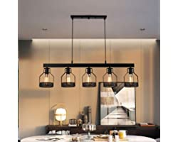 Lampe Suspension Noire 5 Têtes Lights Métal Fer Cage Pendentif Lumières Vintage Loft Suspension Industrielle Éclairage E27 Sa