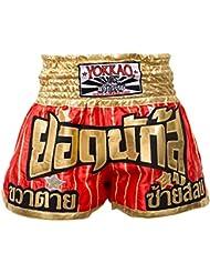 "'yokkao Muay Thai Pantalones Cortos ""yodd Echa, hecha de satén, color rojo, tamaño XL (32"")"