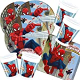 52-teiliges Party-Set Spiderman Web Warriors - Teller Becher Servietten für 16 Kinder