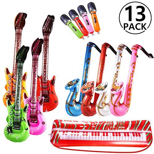 Yosemy Inflables de Juguete, Inflable Guitarra Saxofón Micrófono Teclado, Música Parte Prop para Fiesta, Piscina, Bebé Ducha, Tiro Apoyos, Día de los Niños Regalo, 13 Pcs (Color al azar)