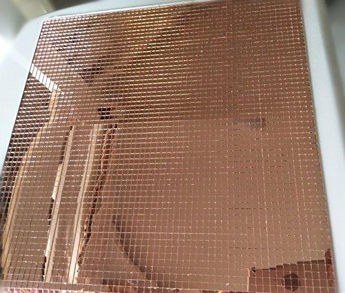 RUIXUAN Autoadesive in Vero Vetro Specchio per Piastrelle Craft, Colored Mini specchi Quadrati Mosaico Light Rose Gold