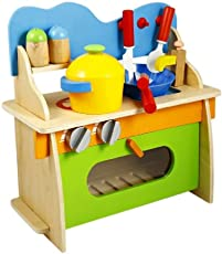 Emob Kid's 3D Assembled Wooden Pretend Play Cooking Kitchen Set Toy (Multicolour, HDGUY1235)