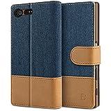 BEZ® Sony Xperia X Compact Hülle Handy Hülle Sony Xperia X Compact, Handytasche Schutzhülle Tasche Flip Case [Stoff Bezug und PU Leder] mit Kreditkartenhaltern, Standfunktion - Blau Marine