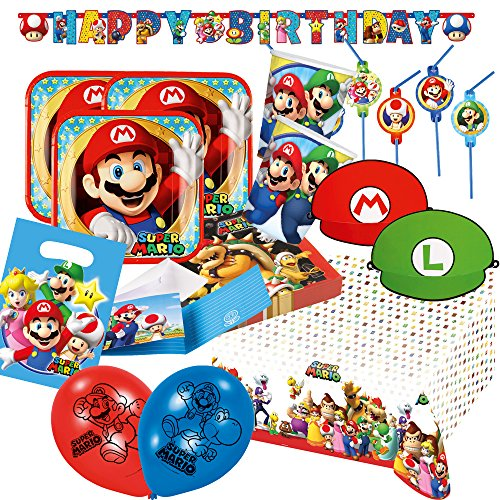 76 Set Party Super Mario - Assiettes Tasse Serviettes Nappe Guirlande Happy Birthday, sachets de Fête, invitations, pailles, ballons hütchen