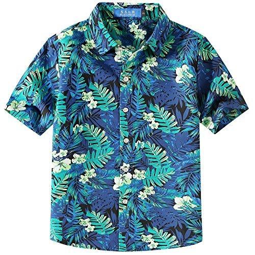 SSLR Jungen Wald Hibiskus Sommer Button Down Casual Hawaii Kurzarm Hemd (Medium (9-11Jahren), Schwarz Blau)
