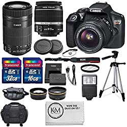 Canon EOS Rebel T6 DSLR Camera with EF-S 18-55mm f/3.5-5.6 IS II Lens, EF-S 55-250mm f/4-5.6 IS STM Lens, and Deluxe Accessory Bundle