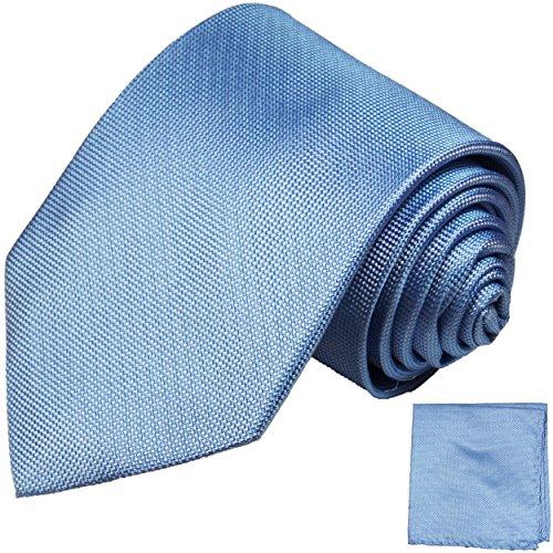 Paul Malone Krawatten Set 100% Seidenkrawatte + passendes Einstecktuch blau