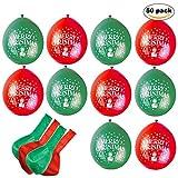 50er Pack – Rote und Grüne Latex Ballons für Weihnachten – perfekte Deko Weihnachtsballons für Zuhause und Büro, als Weihnachtsdeko zu Weihnachten oder als Geschenk