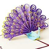 Osunp Paon 3d Pop Up Carte de vœux faite à la main carte d'anniversaire de mariage carte d'invitation Cartes Cadeau pour anniversaires d'amitié Meilleur souhait Bonne Chance de Saint-Valentin