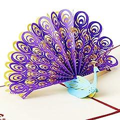 Idea Regalo - Osunp pavone 3D biglietto di auguri fatti a mano regalo per matrimonio, invito di biglietto per anniversario amicizia Best wish Good Luck giorno di San Valentino