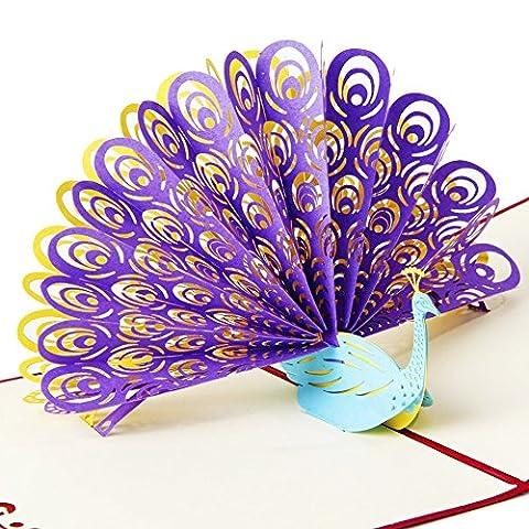 osunp Pfau 3D Pop up Grußkarte handgefertigt Geburtstag Karte Hochzeit Einladung Karte Karten für Jahrestag Freundschaft Best Wish Viel Glück Valentine 's Day